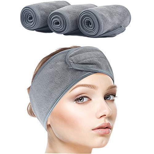 AOI Diadema de SPA para Mujer, Paquete de 3, Venda Facial de Tela de Terry Suave Ajustable Gris, Diadema para Maquillaje, Lavado de Cara y Ducha (Gris)