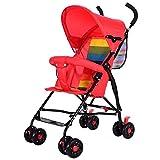 MNBV Carro de bebé Plegable reclinable con Bolsa de mamá Station Wagon, Rojo
