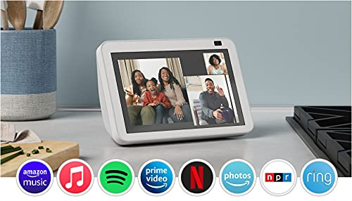 All-new Echo Show 8 (2nd Gen, 2021 release)   HD smart display with Alexa and 13 MP camera   Glacier White