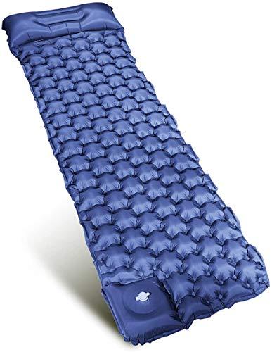 Lavcus Camping Isomatte, Handpresse Aufblasbare leichte Rucksackmatte -Tragbare wasserdichte Und rutschfest kompakte Luftmatratze mit eingebauter Pumpe Für Camping,Outdoor (Blau)