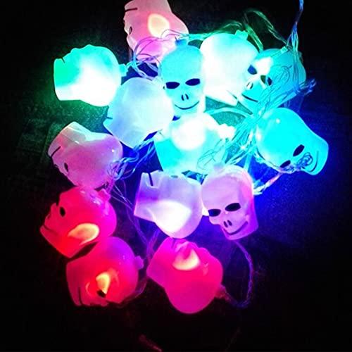 Luces De Cadena Led,Decoración De Barra Luminosa Linterna De Calabaza,Luces De Cadena De Calavera,Para Fiesta De Halloween Decoración De Festival De Interior Al Aire Libre En Casa,SkullB-battery
