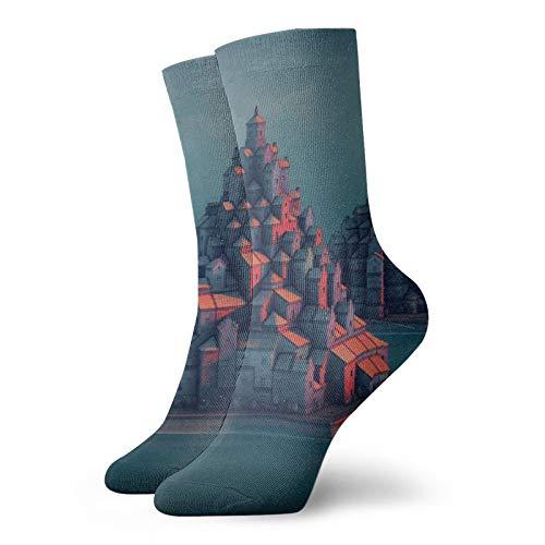 Townscaper Tower Town Antelope Cartoon Avatar Hombres / Mujeres Pies Sensibles Calcetín de corte ancho y algodón Crew Athletic Sock