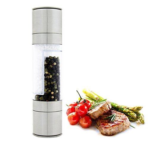 DualKitchenWare Salt & Pepper Grinder Set, 2 in 1 Durable Stainless Steel Body Adjustable Ceramic Grinding Mill