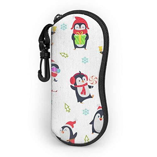 Funda suave con mosquetón, pingüino vestida como una Santa portátil, ultraligero de neopreno con cremallera para gafas de seguridad para hombre y mujer