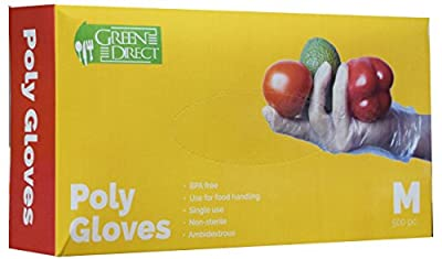 Green Direct Food Grade PE Disposable Gloves/Food Preparation Poly Gloves BPA Free Box of 500