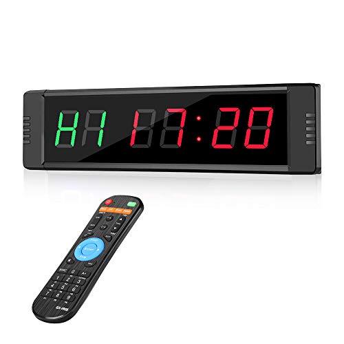 Riiai Programmierbarer LED-Intervall-Timer, Echtzeit-Uhr, Stoppuhr, Sport mit Fernbedienung, für Crossfit, Tabata, EMOM, MMA, Heimsport, Fitness, Fitnessstudio