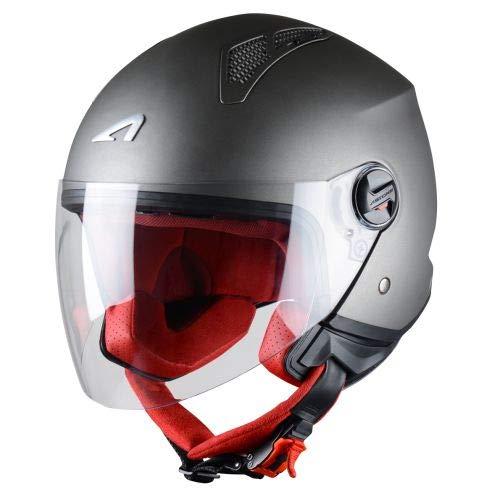 Astone Helmets - MINIJET monocolor - Casque jet - Casque jet urbain - Casque moto et scooter compact - Coque en polycarbonate -Titanium M