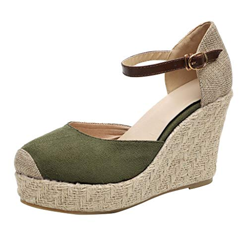 Women's Flatform Sandals Closed Toe Buckle Strap Slingback Espadrilles High Wedge Sandals Outdoor Casual Shoes Green
