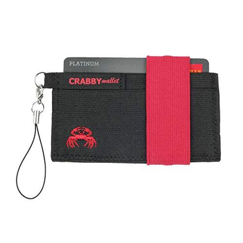 Crabby Wallet V2, Kleiner dünner praktischer Geldbeutel, Geldbörse, Portemonnaie, Brieftasche, Slim Wallet, 10,5 x 5,5 x 0,5 cm (rot)