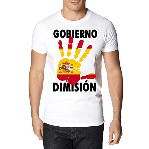 Camiseta Unisex Bandera España Vintage - T-Shirt Impresión Digital Color Blanco