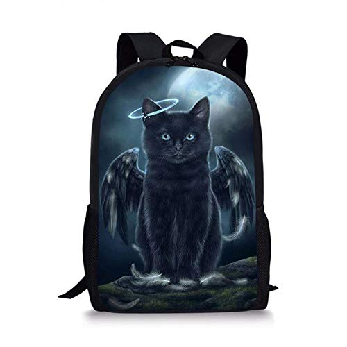 CSXM - Estuche escolar de gato, 3 piezas, color negro, para niñas, niños, ocasionales, 3D, mochila ortopédica para niños, bolsa de libro de viaje