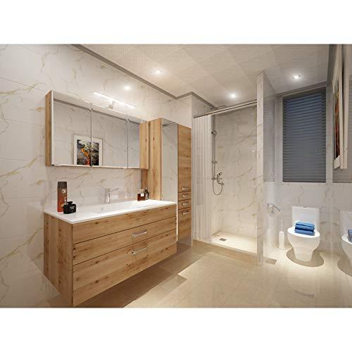 Sehr schönes Badezimmer Möbelset inkl. Waschtisch 100 mit Mineralgussbecken Fontana Buche Iconic
