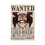 Anime Art,One Piece Wanted Bounty Gold ROGER - Póster de lona para decoración de dormitorio, paisaje, oficina, habitación, decoración de regalo, 30 x 45 cm