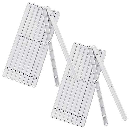 YUSHIWA 20 PCS Guías de Cajón de Extracción Guías Laterales Riel de Cajón Plástico Correderas para Cajones ( Blanco, 300 x 16 x 13 mm )