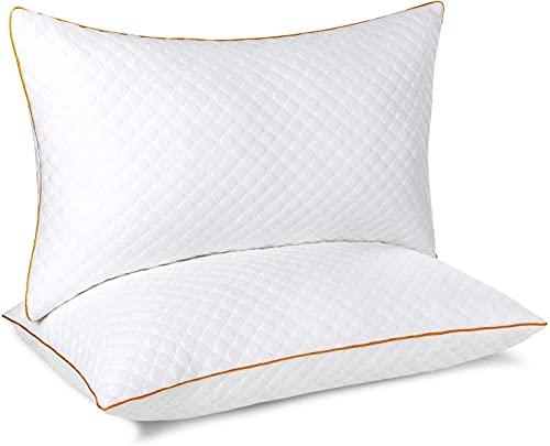 Cuscini letto set di 2 in microfibra, Cuscino da letto con federa rimovibile e lavabile, Guanciale per dormire traspirante, Guanciali per chi dorme sulla schiena, sullo stomaco e sul lato, 42x70cm