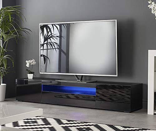 MMT DAIQ2000 - Mobile porta TV per TV 4k da 65 70 75 80 pollici, con luci LED, larghezza 200 cm, colore: Nero