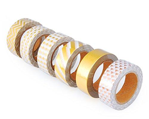 DSstyles 10 metri adesivo riposizionabile creativo mestiere di Scrapbooking Stripes Dots Fai da te giapponese di mascheratura nastri decorativi Sticky Washi Tape Collection Shinning Oro - 6 rotoli