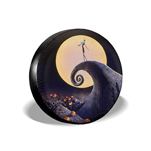UTWJLTL Tire Cover The Nightmare Before Christmas Polyester Universal Spare Wheel Tire Cover Wheel Covers for Jeep Trailer RV SUV Truck Camper Travel Trailer Accessories 15 Inch