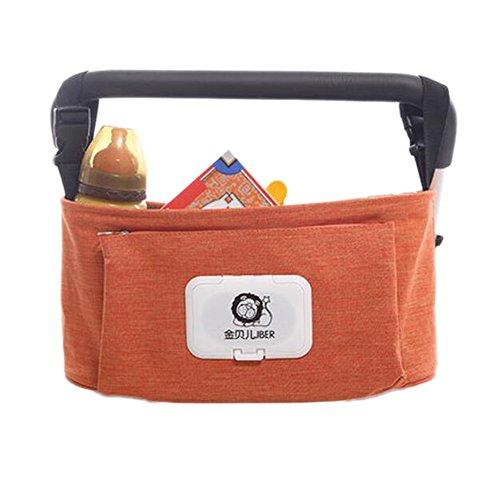 [Orange]Sac poussette, poussette accessoires, poussette connectable Organisateur