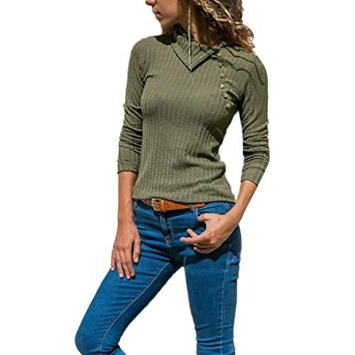 TWIFER Damen Einfarbig Reverskragen Pullover Langarm Knopfleiste Vorne Slim Sweater Bluse