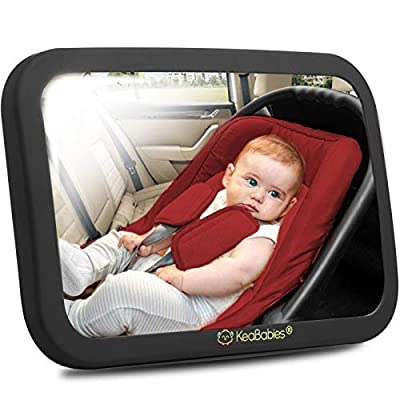 Large Shatterproof Baby Car Mirror - Safety Car Seat Mirror for Rear Facing Infant - Wide Shatterproof KeaBabies Car Baby Mirror - Carseat Mirrors - Fully Assembled Baby Car Mirror (Matte Black) from KeaBabies