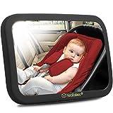 Espejo De Coche De Bebé - 180 Vista Amplia Asiento De Coche Espejo - Inastillable Seguridad Del Bebé Espejo Retrovisor - Espejo Para Asiento De Coche para Orientado hacia atrás infante (Matte Black)
