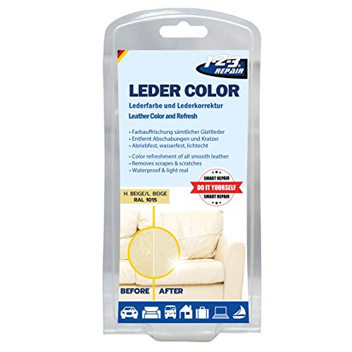 1-2-3 REPAIR 123Repair Lederfarbe - Ledercouch wie Neu - Lederfärbemittel - Hellbeige 57ml