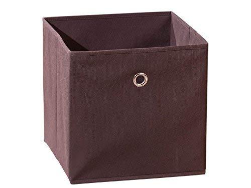 Inter Link Faltkiste Faltbox Faltbare Aufbewahrungsbox mit Metallöse aus Stoff in Braun