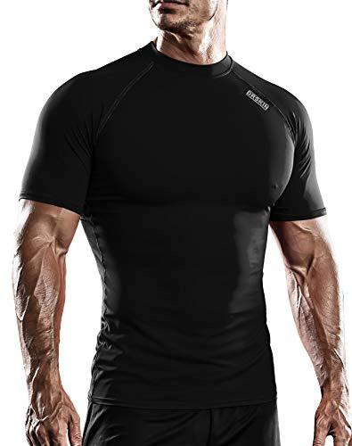 DRSKIN Men's Compression Cool Dry Sports Short Sleeve Shirt Baselayer T-Shirt Athletic Running Rashguard (SBBN55, XL)