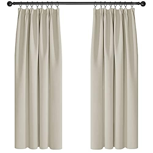 Deconovo Cortina Dormitorio con Aislamiento Térmico Tela Lisa Gruesa Color Sólido Decoración Hogar con Bolsillos 2 Paneles 132 x 160 cm Beige Claro