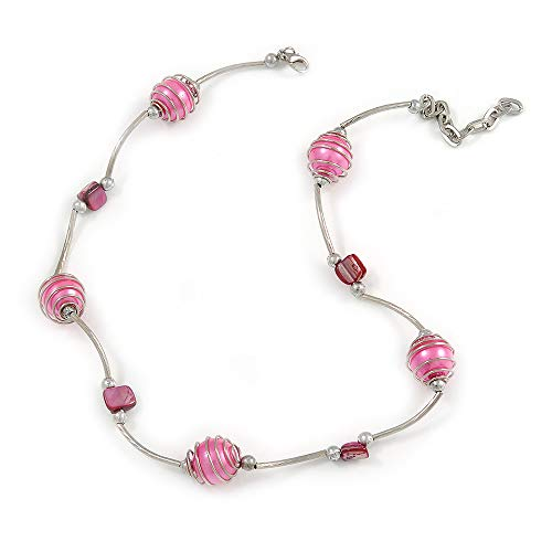 Avalaya Pink Shell and Glass Bead Necklace in Silver Tone Metal - 42cm L/ 5cm Ext