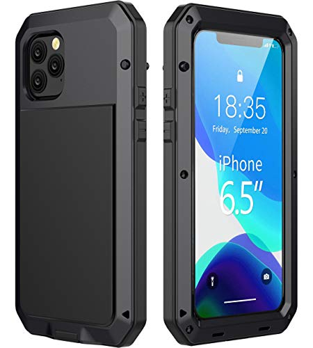 iPhone 11 Pro Max Case - Military Grade Drop Tested, Metal TPU Rugged Dustproof Shockproof Heavy Duty 360 Full Body Built-in Screen Protector Protective Case Cover for Apple iPhone 11 Pro Max (Black)