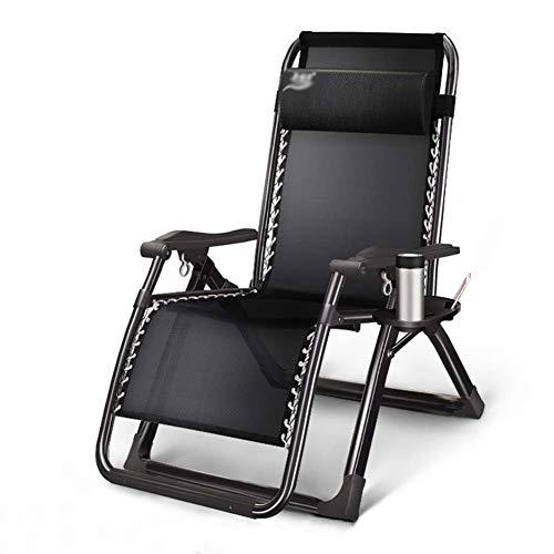 DQCHAIR Verstellbarer Gartenstuhl Im Garten & im Freien Klappbarer Liegestuhl Schwerelosigkeit Patio-Stuhl Unterstützt bis zu 200 kg (Color : Full Black)