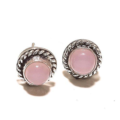 ¡Regalo para novia ¡Gemas de cuarzo rosa rosa PERNO/PENDIENTE 4 mm ¡Exótico Plateado HECHO A MANO ¡Joyería de Shivi