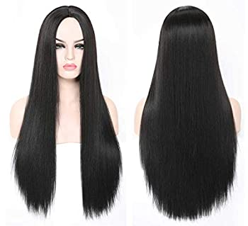 SHINYSHOW 24 inch Black Wig Synthetic Black Wigs for Women s Halloween Costume Cosplay Long Black Wigs Middle Part Straight Black Wigs