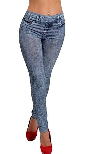 Goldensat Autumn Women's Imitate Cowboy Legging Style Winter Denim Look Pants M Blue