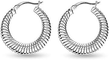 HIKARO Sterling Silver Jewelry Birthstone Hoop Earrings for Teens and Women (3 MM Topaz Round Cut)