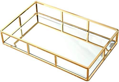 Goldfarbenes Spiegeltablett für Parfüm, Parfüm, Ständer, Spiegel, Schminktisch, Kommode, Tablett aus Metall, dekoratives Tablett für Schmuck, Parfüm, Organizer, Make-up-Tablett für Schminktisch
