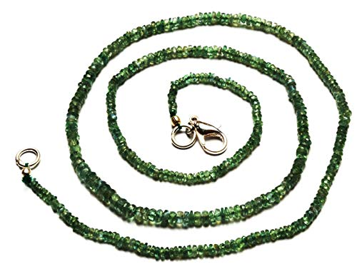 14 inch long rondelle shape faceted cut natural alexandrite chrysoberyl 2-4 mm beads necklace with 925 sterling silver clasp for women, girls unisex