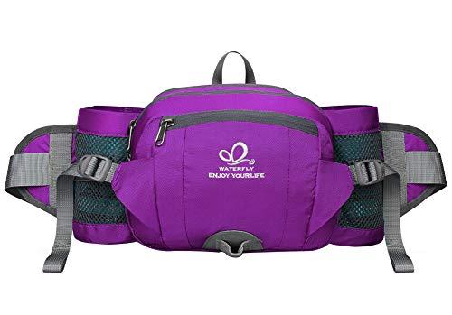 Waterfly Riñonera Running Deportiva Impermeable Multifuncional Bolso de Cintura con Portabotellas para Correr Senderismo Ciclismo para Hombre Mujer (Púrpura)