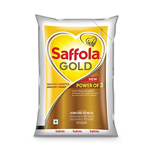 Saffola Gold Refined Cooking oil | Blended Rice Bran & Sunflower oil | Helps Keeps Heart Healthy | 1 Litre pouch