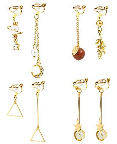 4 Paar Ohrclips zum Anklipsen, nicht durchbohrt, Dreieck, Blätter, Stern, Mond, Opal, Ohrring-Set für Damen und Teenager, Gold