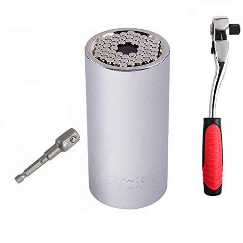 KAUTO Rojo, Juego de Llaves dinamométricas universales, Manguito 11 Manguito de trinquete para Taladro eléctrico de 32 mm con Llave de trinquete y Adaptador -