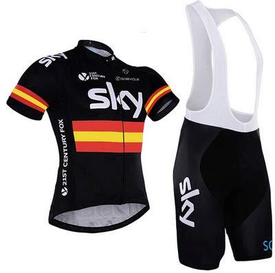 WOLFIRE WF Traje de Ciclismo para Hombre de Equipos. Culotte y Maillot. con 5D Gel Pad. para MTB, Spinning, Bicicleta de Carretera (SK Negro España, L)