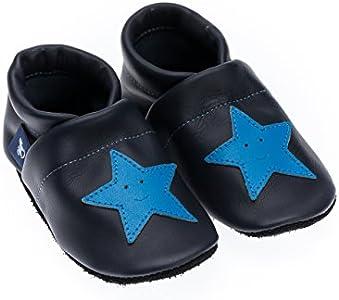 Pantau IT'S A SMALL WORLD Patucos de piel con estrellas, para niños y adultos, 100% piel, hechos a mano, color Azul, talla 29 EU