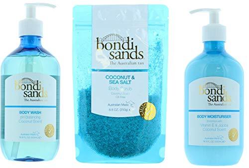 Bondi Sands Bath Bundle: Gel corporal de coco 500 ml, crema hidratante corporal de coco 500 ml, exfoliante de coco y sal de mar 250 g + esponja Konjac | fórmula diaria equilibrada pH