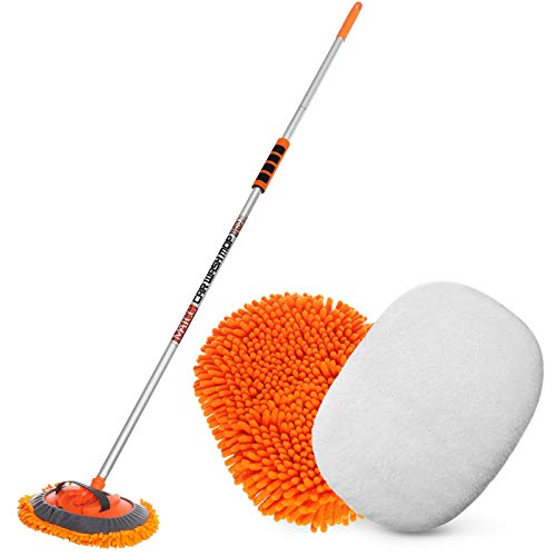 MATCC 62'' Car Wash Mop Car Wash Brush with Long Handle Chenille Microfiber Wash Mop Car Wash Brush Duster Scratch Free Washing Supplies 180 Degree Rotation for Cleaning RV Cars and Bus
