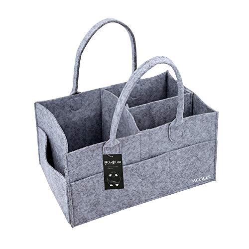 MCUILEE Cajas para pañales Nursery almacenamiento bin cesta de fieltro bolsa de organizador Basura pañales toallitas Bebé bolsa de almacenamiento Caddy para Bebés Diaper Nappy Bag