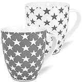 MC-Trend - Juego de 2 Tazas XL de Porcelana en Color Blanco y Gris, con Estrellas; Capacidad de 600 ML y Altura de 12 cm, para Usar en Cocina, Oficina y Escritorio