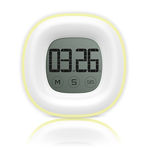 Timer, Helect Digital Touchscreen Display Kitchen Timer with Loud Alarm, Counts up/down, and Magnetic Backing for Cooking Baking Sports Games Office (Yellow) - H1045
